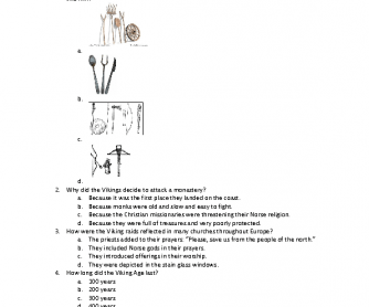 Movie Worksheet: Vikings - Journeys to New Worlds