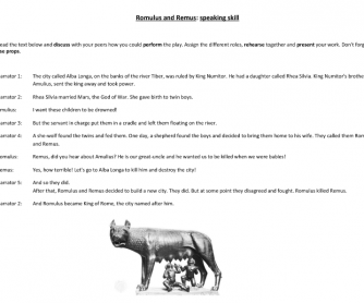 Romulus and Remus - Narrative Writing Activity