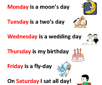 Song Worksheet: Days of the Week Rhyme/ Song