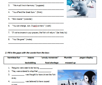 Movie Worksheet: Happy Feet (Infinitive Constructions)