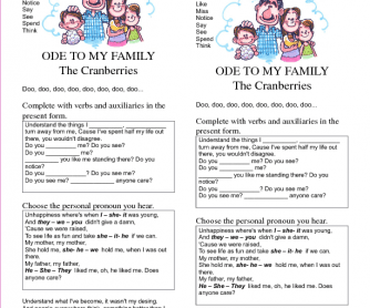Song Worksheet: Ode to My Family