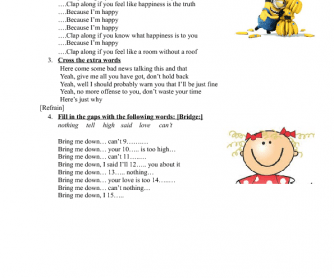 Song Worksheet: Happy by Pharrell Williams