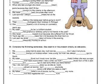 Used To / Didn't Use To Elementary Worksheet
