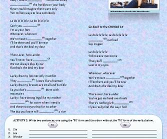 Song Worksheet: Infinitves