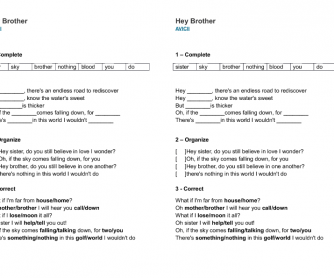 Song Worksheet: Hey Brother by Avicii