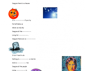 Song Worksheet: Imagine