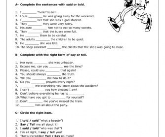 Reporting Verbs: Say and Tell Worksheet
