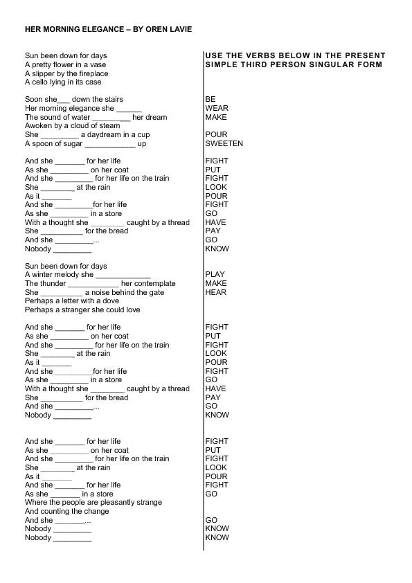 Printable Worksheets third person singular worksheets : Worksheet: Her Morning Elegance (3rd Person Singular)
