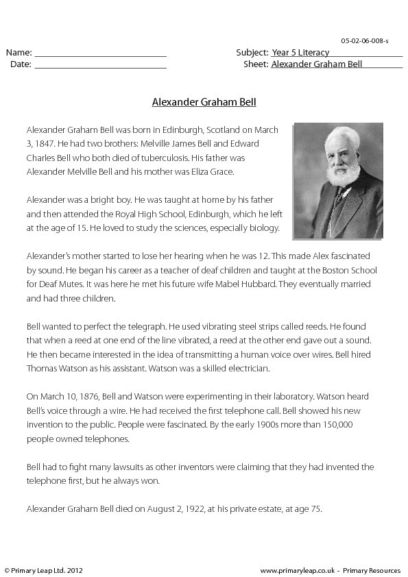 Graham Bell and the Telephone in 5 Minutes Video Worksheet