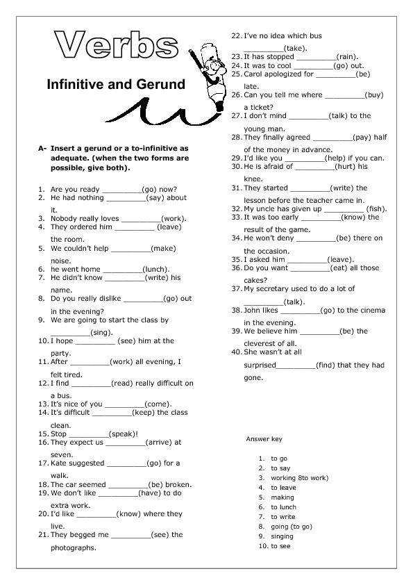 Infinitive and Gerund Worksheet