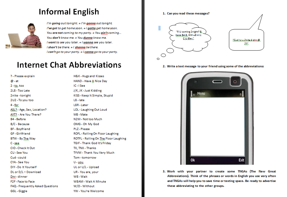 Worksheet Matching Cell Phone Texting : Informal english and internet chat abbreviations