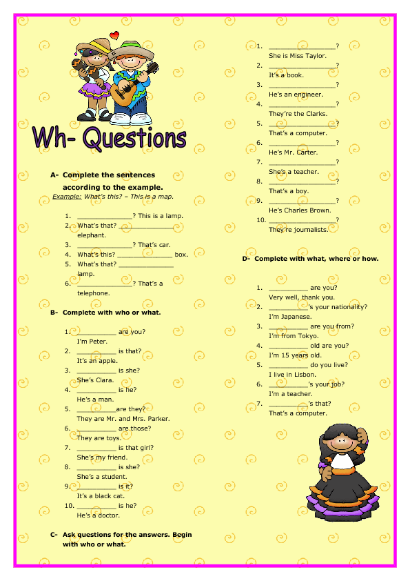 Wh-Questions Elementary Worksheet