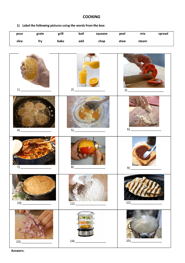 Restaurant Kitchen Vocabulary 82 free cooking worksheets