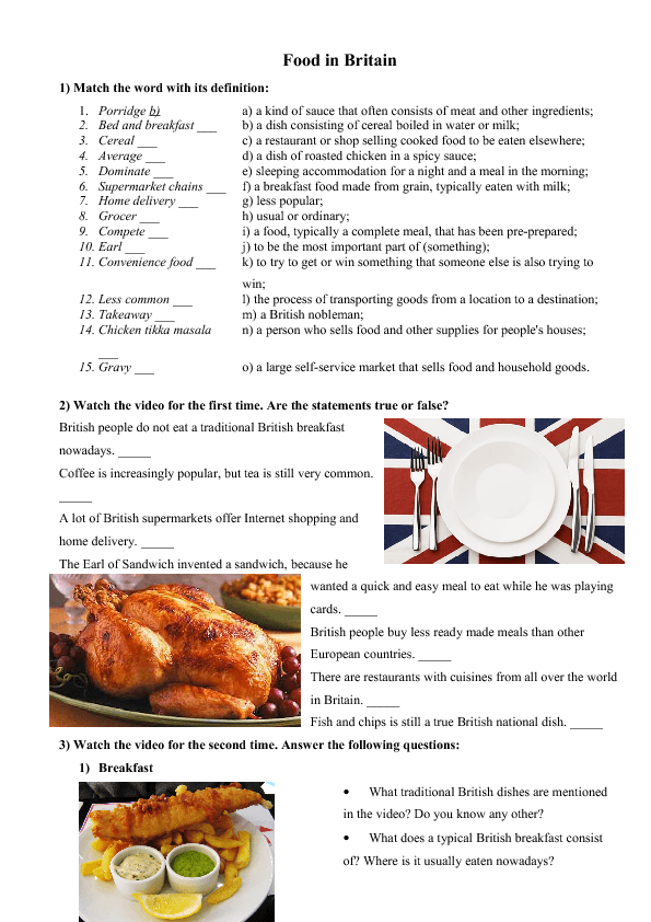 Movie Worksheet: Food in Britain