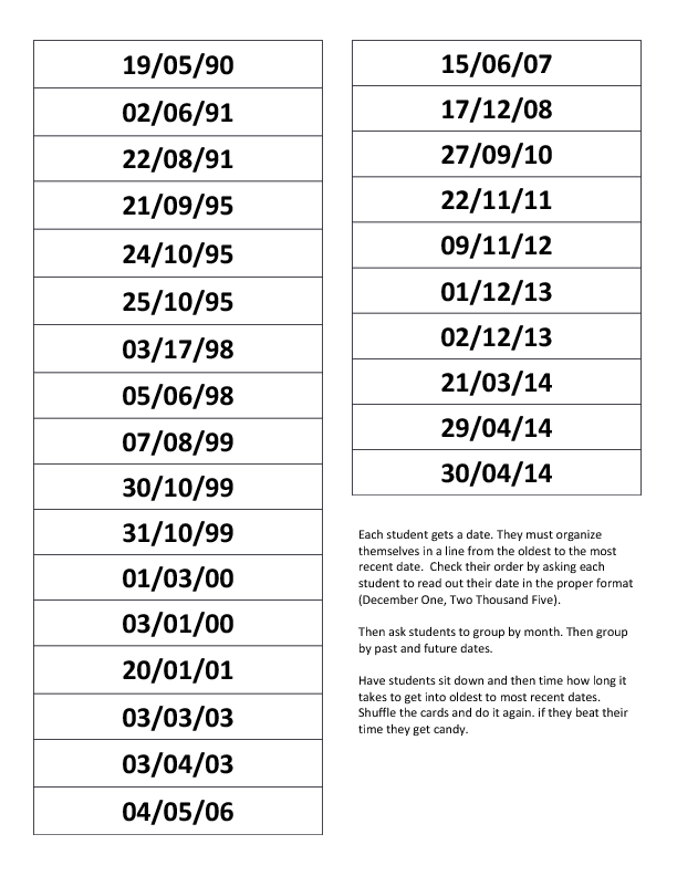 days and dates questionnaire 2014 annelliott dates months days of