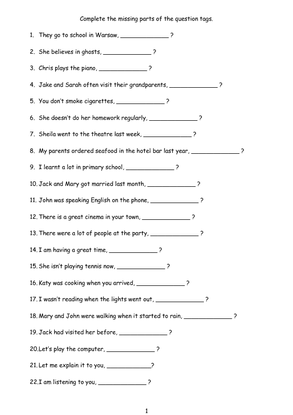 65 Free Tag Questions Worksheets