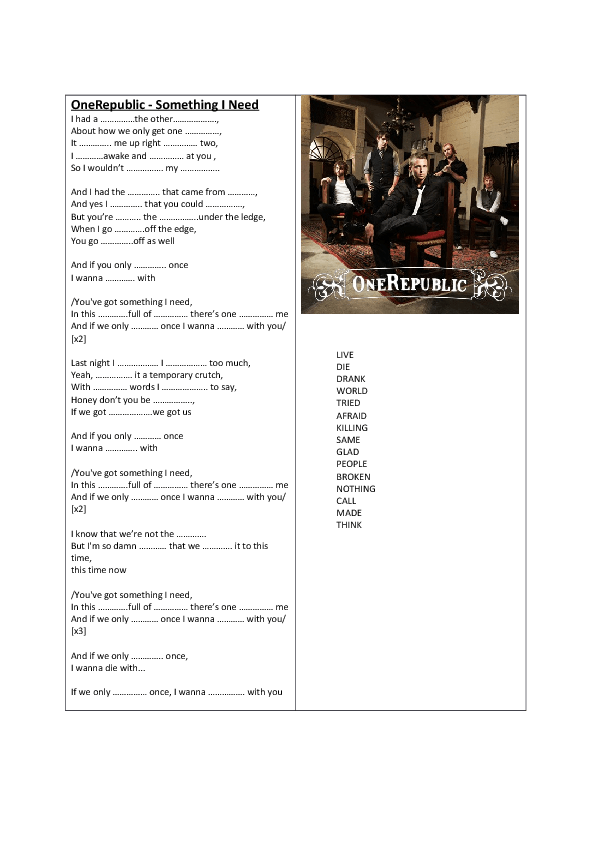 Song Worksheet Something I Need