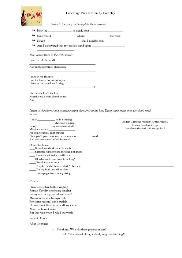 Lyric coldplay viva la vida lyrics : Worksheet: Viva La Vida by Coldplay