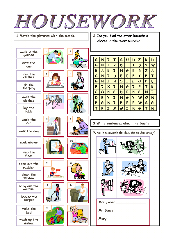 Household Chores: Speaking Activity Household Chores: Present Simple ...