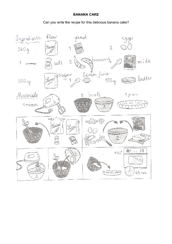 Use the illustrated instructions to write a recipe. Practise cooking ...