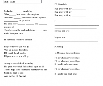 Song Worksheet: Wherever You Will Go by the Calling