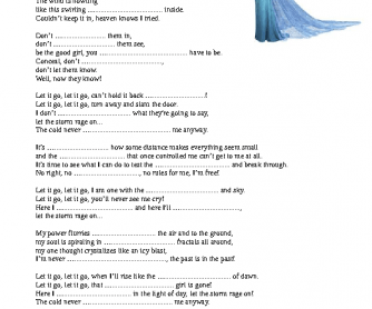 """Song Worksheet: Let It Go by Idina Menzel (""""Frozen"""" Movie)"""