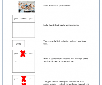 Irregular Participles Bingo