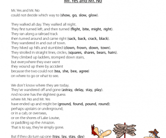 Mr. Yes and Mr. No Rhyming Poetry Worksheet