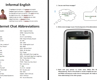 Informal English and Internet Chat Abbreviations