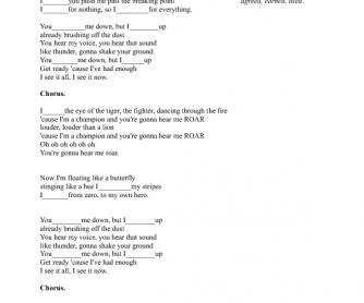 Song Worksheet: Roar by Katy Perry