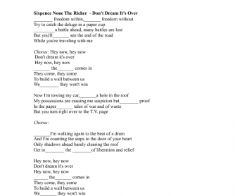 Song Worksheet: Don´t Dream It's Over by Sixpence None the Richer
