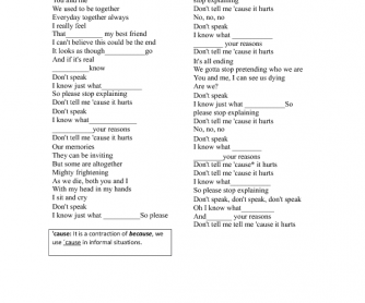 Song Worksheet: Don´t Speak by No Doubt (Present Continuous)