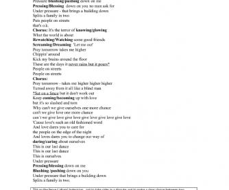 Song Worksheet: Under Pressure by Joss Stone