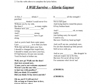 Song Worksheet: I Will Survive (for Past Simple)