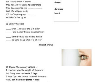 song worksheet wake me up by aviccii