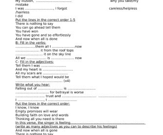 Song Worksheet: Impossible by James Arthur