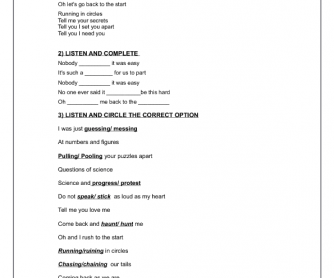 Song Worksheet: The Scientist by Coldplay