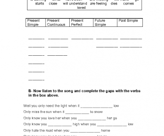 Song Worksheet: Let Her Go by Passenger Tense Revisions