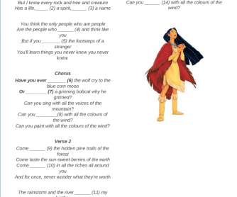 Song Worksheet: Color of the Wind (Have You Ever?)