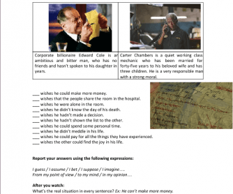 Movie Worksheet: Bucket List (Wish List - Wish Statements)