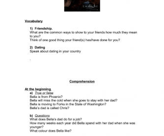 Movie Worksheet: Twilight (Dating/Social Skills)