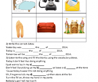 Song Worksheet: The Lazy Song by Bruno Mars