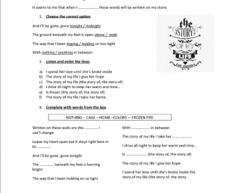 Song Worksheet: Story of My Life by One Direction
