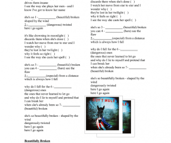 Song Worksheet: Beautifully Broken by Gov't Mule (Adverbs and Adjectives)