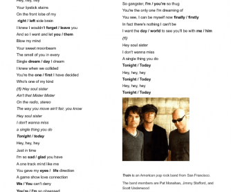 Song Worksheet: Hey, Soul Sister by Train