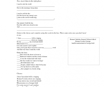 Song Worksheet: Viva La Vida by Coldplay