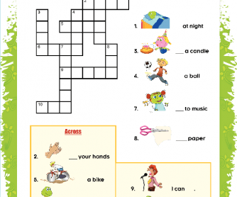 Action Verbs Puzzle for ESL