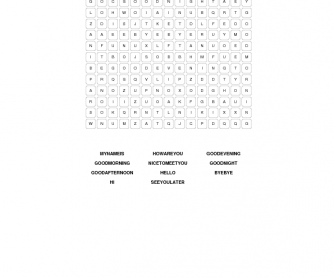 Word Search (Greetings / Introduction / Farewells)