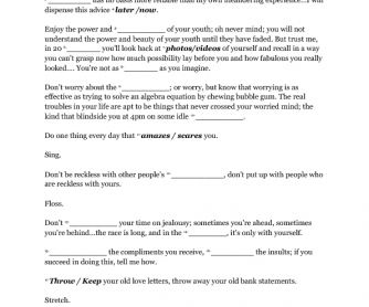 Song Worksheet: Everybody's Free to Wear Sunscreen by Buz Luhrmann