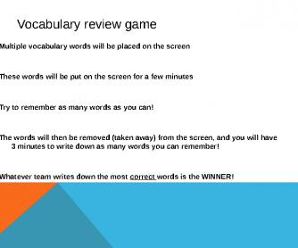 Memory Game. Hospitality English